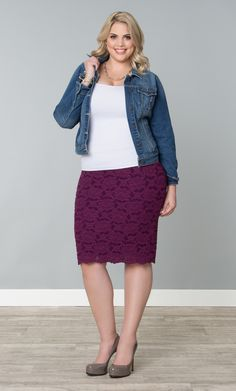 Our plus size Shayla Lace Skirt takes typical pencil skirts to the next level with beautiful stretch lace in bright, fresh colors.  Wear it casually or dress it up for work; either way, this is something every woman should have in her closet.  #KiyonnaPlusYou #Plussize #Kiyonna