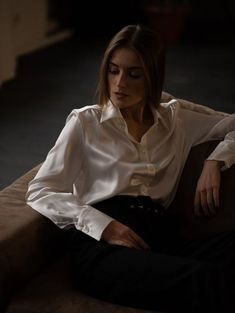 Best White Shirt, White Shirts, Satin Underwear, Satin Shirt, Sexy Blouse, Satin Blouses, Dress Shirts For Women, Beautiful Blouses, Female Portrait