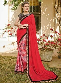 Fantastic Red Zari Work Georgette Printed Party Wear Sarees http://www.angelnx.com/Sarees/Party-Wear-Sarees