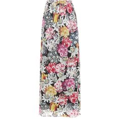 Burberry Floral-Printed Silk Maxi Skirt (€875) ❤ liked on Polyvore featuring skirts, multicoloured, silk skirt, silk maxi skirt, floral print long skirt, burberry skirt and floral skirt