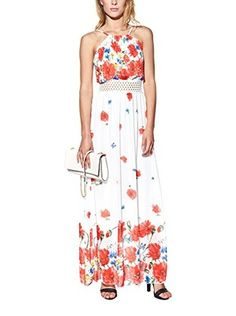 Candy Vestido Maxi With Floral Print, Pleated And Openwork (Blanco)