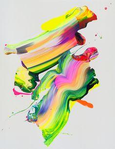 Neon painting splashes