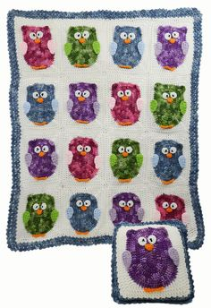 Maggie's Crochet · PB123 Owl Afghan & Pillow Set
