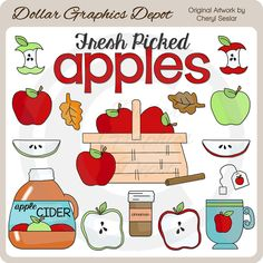 Autumn Apples - Clip Art Collection - Only $1.00 at DollarGraphicsDepot.com : Great for printable crafts, scrapbook pages, web graphics, autumn greeting cards, autumn recipe cards, gift boxes / bags, gift tags / labels, candy bar wrappers, tea bag covers, hot apple cider packets, bag toppers, kitchen wall art, apple pie boxes, canning labels, apple fruit basket tags, and much more!