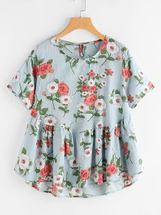 Shop Botanical Print Frill Hem Smock Blouse online. SheIn offers Botanical Print Frill Hem Smock Blouse & more to fit your fashionable needs.