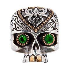 Tribal Sugar Skull Biker Ring