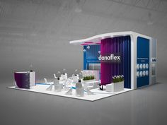 Exhibition stand Danaflex GXgroup on Behance Exhibition Stall, Exhibition Stand Design, Trade Show Booth Design, Display Design, Digital Kiosk, Expo Stand, Stage Design, Architecture Design, Cool Designs