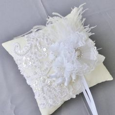 Wedding Ivory  And White Lace Ring Bearer by Chuletindesigns, $38.00