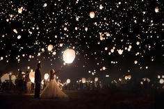 What an incredible way to end your wedding reception — release illuminated paper lanterns into the night sky! | Beyond the Darkroom Photography