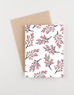 Red Berries, Holiday 2015 Christmas and New Years Greetings Card, Watercolor by seahorsebendpress on Etsy