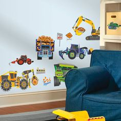 Kid's Peel & Stick Wall Decals Mega Trucks Construction Trucks and More by New Speed Limit