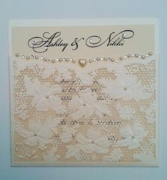 Ivory vintage lace pocket invitation with pearls & diamante.