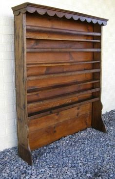 Antique French Provincial Plate Rack Elm & Wooden Plate Racks Wall Mounted | Antique 19C Victorian pine dresser ...