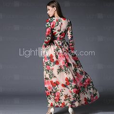 Mulheres Chifon / Swing Vestido,Happy-Hour / Casual / Festa/Coquetel / Férias Vintage / Moda de Rua / Sofisticado Floral Decote Redondo de 2016 por $23.79