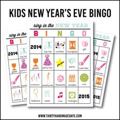 Printable New Year's Eve BINGO Sheets for Kids www.thirtyhandmadedays.com