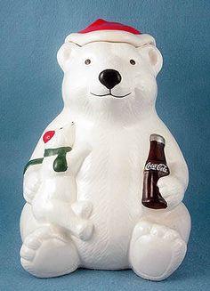 oca Cola Bear w/Cub Cookie Jar
