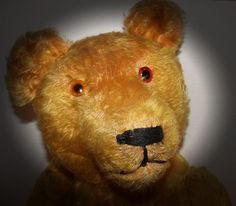"""ANTIQUE GOLDEN MOHAIR JOINTED LONG SNOUT TEDDY BEAR WITH GLASS EYES 29"""" TALL"""