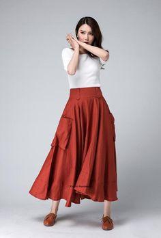 pocket skirts lagenlook skirt linen skirt skirt with Long Maxi Skirts, Red Skirts, Velma Costume, Handmade Skirts, Spring Skirts, Linen Skirt, Asymmetrical Skirt, Skirts With Pockets, Modest Fashion