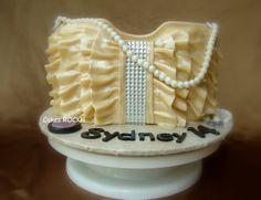 Golden Ruffles Purse Cake - by CakesRock @ CakesDecor.com - cake decorating website