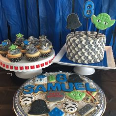 Lego Star Wars cake, cupcakes and cookies.
