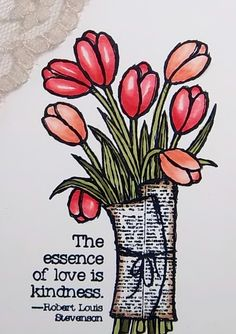 Love is kindness tulips single stamp