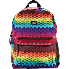 Bubble Dots Backpack, Rainbow Gordmans ($35) ❤ liked on Polyvore featuring bags, backpacks, rainbow bag, handle bag, rainbow backpack, dot bag and knapsack bag