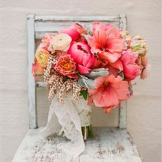 Sweet & sophisticated country wedding inspiration in coral pink, this years hottest color trend. {image via Wedding Chicks}