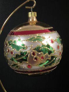 Vintage Christopher Radko Holly Ribbons Ball Christmas Ornament , Very Rare!!!