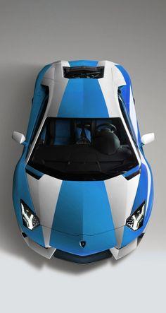 Blue and white harlequin Lamborghini Aventador