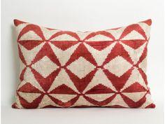 Velvet Lumbar ikat Pillow