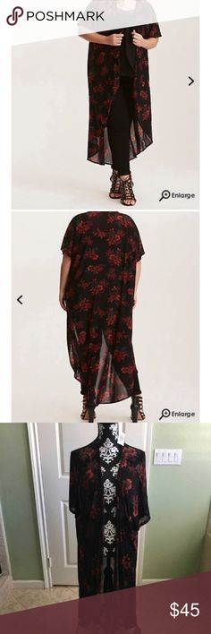 """Torrid Floral Print Mesh Maxi Kimono NWT Brand new never word . Torrid sz 1/2 Have you ever wanted to experience the sensation of floating? This kimono is basically that but also really cute. The black mesh is whisper-light, the perfect breezy topper to any festival outfit. The rich floral print dresses up the sweeping maxi style.  Size 1 measures 39"""" from shoulder torrid Tops"""