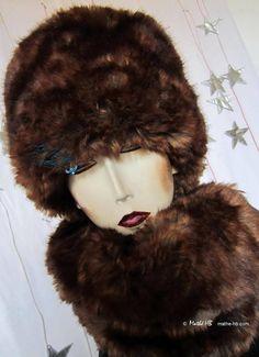 chapeau toque hiver fausse-fourrure de luxe chocolat brun