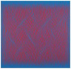 """Julian Stanczak, Concurrent Colors, 1965. Acrylic on canvas, 45"""" x 46 ..."""