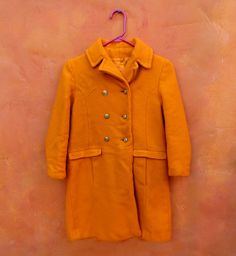 Vintage 1960s 1950s Girls Fun Tangerine Orange Saks Fifth Avenue Winter Coat Jacket