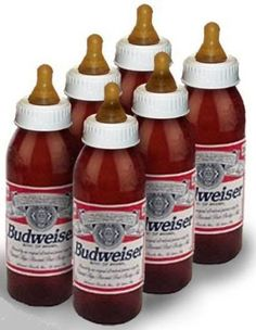 empty budweiser bottles > transfer into BABY BOTTLES. @Static4637