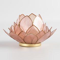 Blush Lotus Capiz Tealight Candleholder: Pink - Capiz Shell by World Market