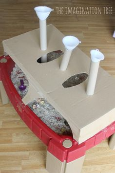 Add some tubes and funnels to the sensory table to increase the play and discovery opportunities! Fine motor skills, co-ordination and problem solving! Sensory Tubs, Baby Sensory, Sensory Activities, Sensory Play, Toddler Activities, Sand And Water Table, Imagination Tree, K Crafts, Force And Motion