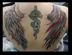 Good vs Evil Wings and Traditional Dagger and Snak by Nikolaos-Mariana.deviantart.com on @deviantART