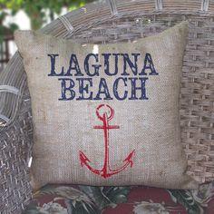 Laguna Beach Burlap Pillow