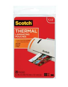Scotch Thermal Laminating Pouches, 4.37 Inches x 6.36 Inches, 20 Pouches (TP5900-20) Laminate items up to 4 x 6 Inches. 5 mil thickness. Clear, glossy finish. Protect documents that you handle frequently Great for children's artwork!. 20 per package; Photo safe. Photo safe. 20 per package.  #3M #Office_Product
