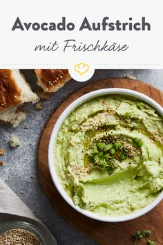 Avocado spread with cream cheese, sesame and garlic - Prepare your spread with acocado, cream cheese and sesame! You are in the right place about avocado - Avocado Spread, Avocado Toast, Vegan Recipes, Snack Recipes, Dinner Recipes, Snacks, Cream Cheese Pasta, Avocado Dessert, Avocado