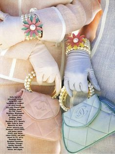 Oh Good Grief! This is a throw-back to those childhood Easter Sunday Morning Ensembles...Gloves, Purses, Pearls!  ZsaZsa Bellagio