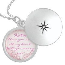 The perfect proposal addition locket, just add the ring on the chain and tell her/him to close their eyes and put it on them...they won't know what hit them. I would say yes haha. #proposal #wedding #engagement #gift #pink #custom #personalized #glitter #cute #zazzle