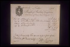 Copper-engraved billhead with handwritten invoice issued by the hosiery firm of Burkitt and Langdown located at the corner of Queen Street, Cheapside. The handwritten invoice refers to the supply of hose including boys fine grey hose, fine cotton hose, mens scarlet hose and boys fine cotton hose to the Hucks household between November 1747 and April 1748.