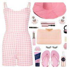 """""""Pink Gingham"""" by deborah-calton ❤ liked on Polyvore featuring Collectif, Havaianas, SUGARFIX by BaubleBar, Serpui, Clarins, Too Faced Cosmetics, L'Oréal Paris, Rimini, MAC Cosmetics and gingham"""