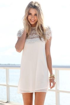 White Short Sleeve Dress with Scalloped Lace Hemline