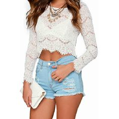 Cropped Lace Crop top ($44) ❤ liked on Polyvore featuring tops, outfits, white, white lace top, lace top, cut-out crop tops, lace crop top and white top