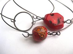Red coral bracelet set, Infinity circle, Stacking bracelet, 3 bangles