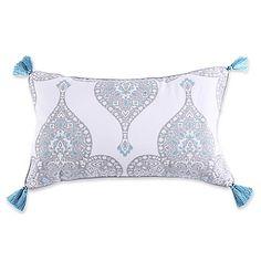 Levtex Home Massana Screenprint Tassel Throw Pillow in Grey/Blue