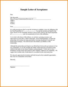Wedding Acceptance Letter  Formal Wedding Acceptance Letter In